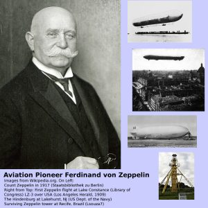 Count Ferdinand von Zeppelin airship collage